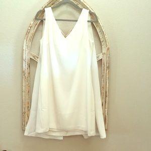 WHBM NWT white V-neck dress with split cape detail